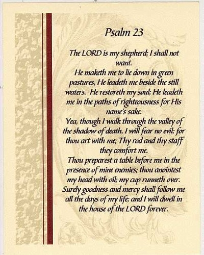 Ridiculous image with regard to psalm 23 printable